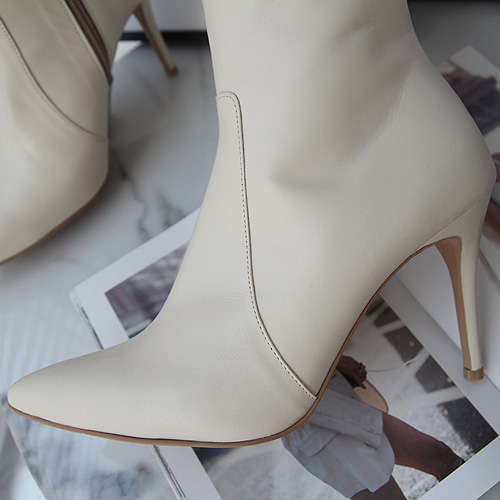 Cream leather long boot