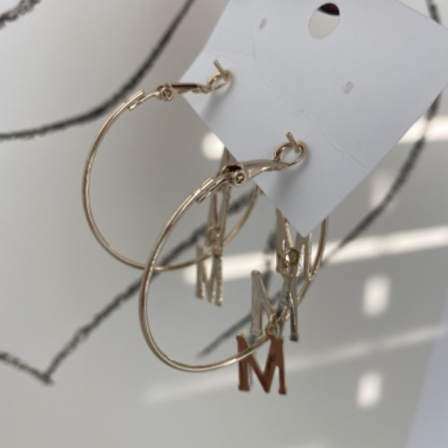 M ring earrings (gold / silver)