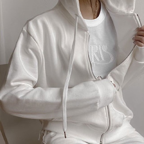Hooded zip-up jumper (white / grey / black)