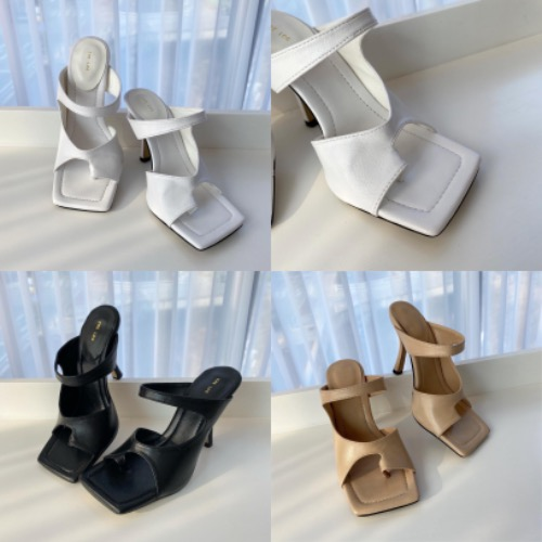 Cut-out square toed sandal heel (white/ black/ beige)