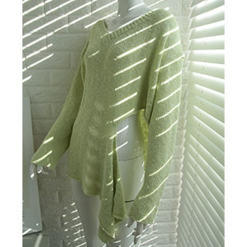 V-neck unbalance knit (mint / lime / beige)