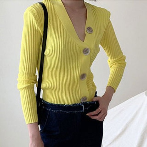 Big button golgi cardigan (Beige / Navy / Yellow)