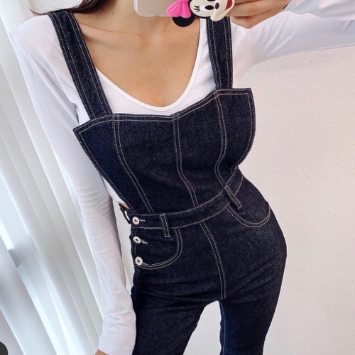 Raw overalls pants