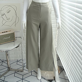 Side slit high pants (black/ khaki)