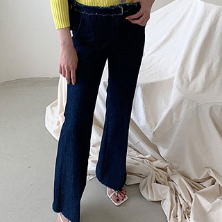 Fringe denim bootcut pants (Raw denim/blue denim)