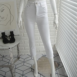 Two-button white pants