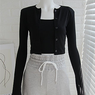 Crop cardigan set (black/ gray)