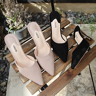 Suede basic stiletto mule (beige/ black) 제니강추