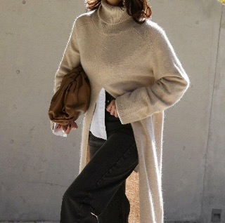 Cash wool deep slit turtle long knit (Cream ivory/ gray/ black)