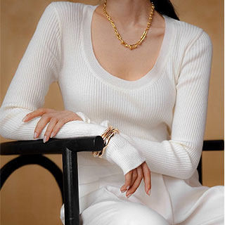 Scoop u-neck golgi knit (ivory/ black/ olive/ hot pink)