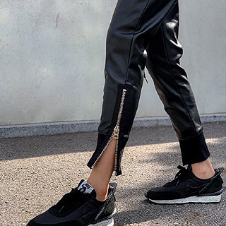 Leather jogger banding pants
