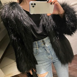 Knitting real raccoon fur jacket (black)