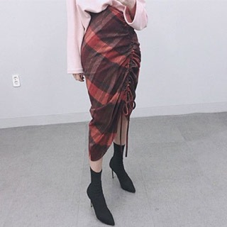 Check shirring skirt 세일54000