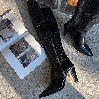 Crocodile knee high boots