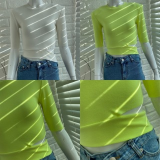 Slit crop pad tee (ivory/ neon lime/ neon orange)