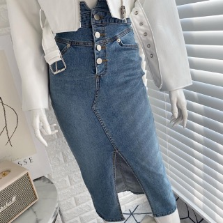 Button high denim skirt