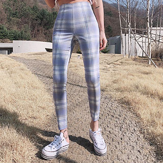 Pastel check skinny pants