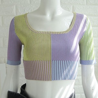 [수입] JACQUEMUS knit crop top (purple/ pink)