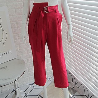 Belt high slacks (red/ khaki)