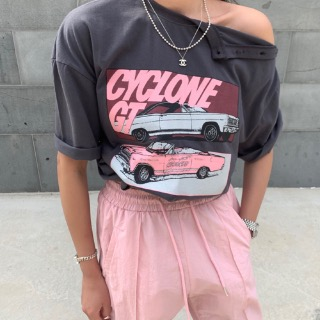 Cyclone button tee (Gray / charcoal)