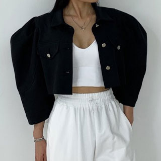 Puff jacket (ivory /black)