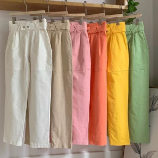 Linen belt pants (ivory / beige / pink / orange / yellow / mint)