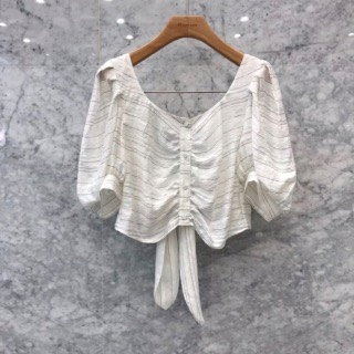 Stripe back ribbon blouse