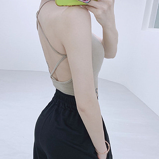 Back X sleeveless (Beige/ black)