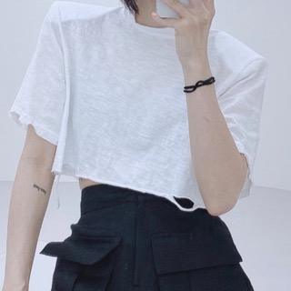 Vintage crop pad tee (white/ black/ gray/ khaki)