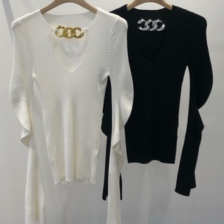 Bold chain knit (Ivory/ black)