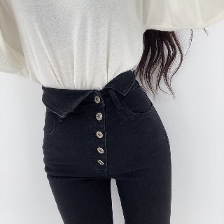 Black button skinny jeans