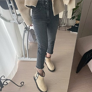 [X2]High crop jeans (Blue/ black)